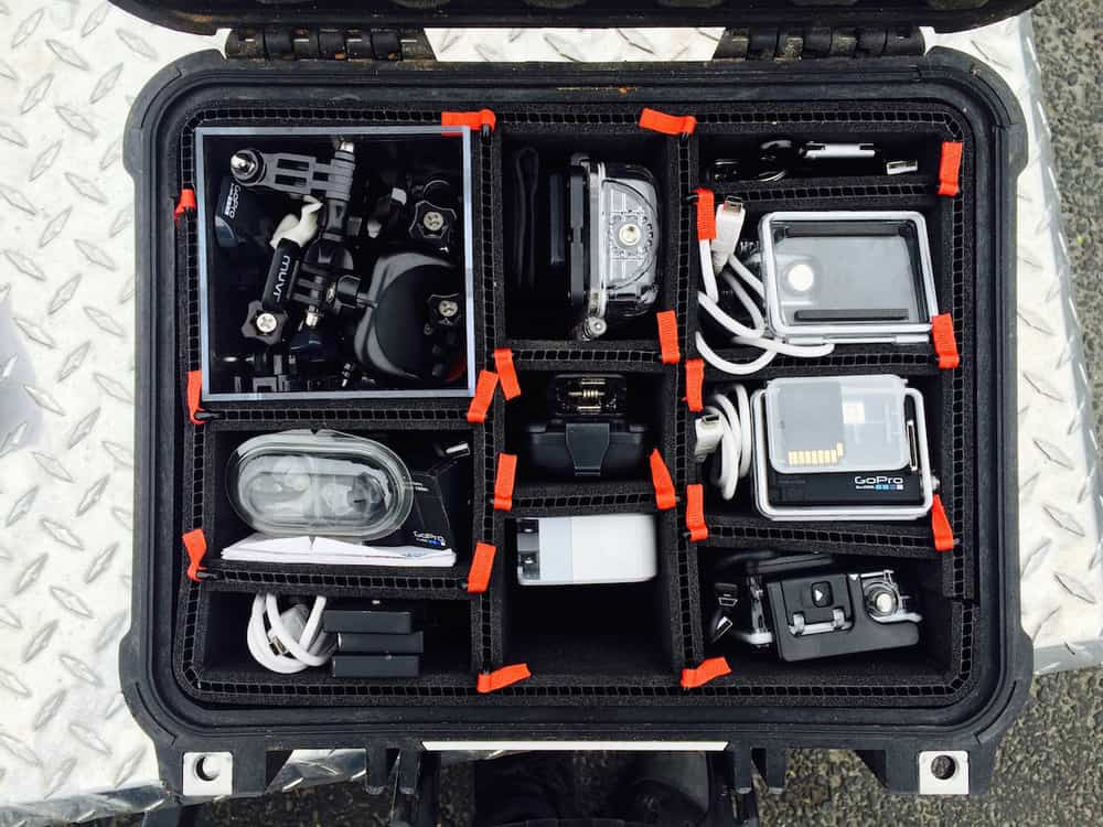 Our equipment safe and sound protected by Pelican's awesome case and Trekpak's superior padded organization system.